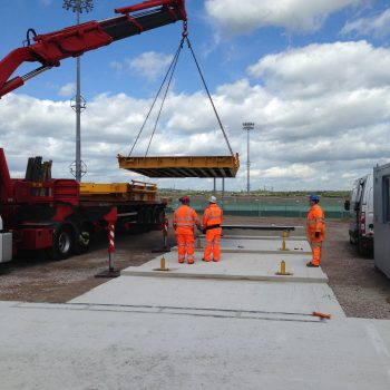 Weighbridge calibration systems being installed by engineers