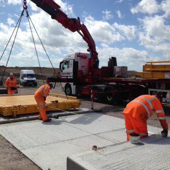 Surface Mounted Eurodeck Weighbridge - being installed