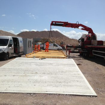 Surface mounted Eurodeck Weighbridge being installed