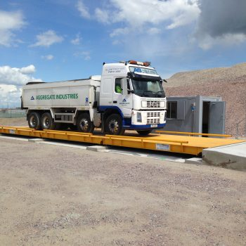 Surface mounted Eurodeck weighbridge in use on site