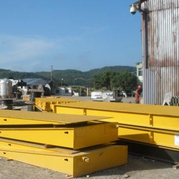 Shipping container scales stacked ready for installation