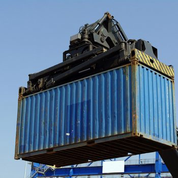 Container weighbridge - container being carried to weighbridge