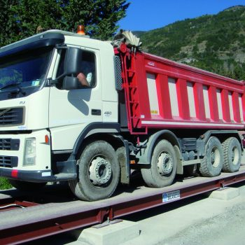 Portable weighbridges in use